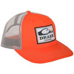 Square Patch Mesh Back Cap - Orange/White