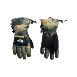 North Face Youth Montana Etip Gore-Tex Glove - Burnt Olive Green Waxed Camo Print