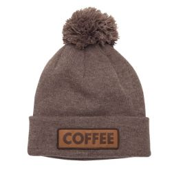 The Vice Pom Beanie-Heather Brown