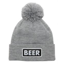 The Vice Pom Beanie-Heather Grey