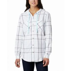 Columbia Women's Anytime Stretch Hooded Long Sleeve - Blue Plaid