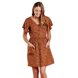 Toad + Co Women's Hillrose Button Ss Dress - Chestnut Ditsy