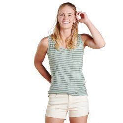 Toad + Co Women's V-neck Grom Tank - Blue Surf Stripe