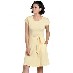 Women's Cue Wrap Ss Dress - Dusty Citron Stripe