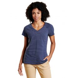 Women's Swifty V-neck Ss Tee - True Navy Swift Stripe