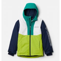 Columbia Boys' Winter District Jacket - White/Bright Chartreuse/Collegiate Navy/Emerald Green