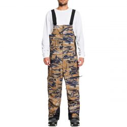 Quiksilver Men's Utility Shell Snow Bib Pants - Military Olive GPS Point