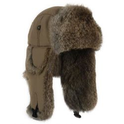 Mad Bomber Supplex Bomber Hat - Khaki with Brown Fur
