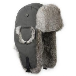 Canvas Bomber Hat - Grey with Grey Fur