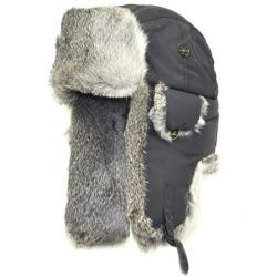 Mad Bomber Supplex Bomber Hat - Grey with Grey Fur