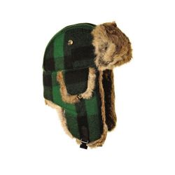 Mad Bomber Wool Bomber Hat - Green Black Plaid With Brown Fur