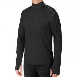 Hot Chillys Men's Micro-Elite Chamois Solid Zip-T - Black