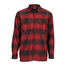 Simms Men's ColdWeather Long Sleeve Shirt - Auburn Red Buffalo Blur Plaid