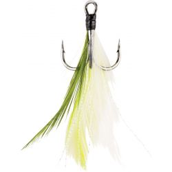 Berkley Fusion19 Feathered Treble Hooks #2 - White Chartreuse