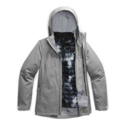 North Face W Thermoball Eco Snow Tri Jkt - MD GRY HTHR/BLK PRT