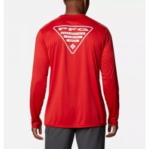 Columbia Men's PFG Terminal Tackle Destination Long Sleeve Shirt - Red Spark/USA