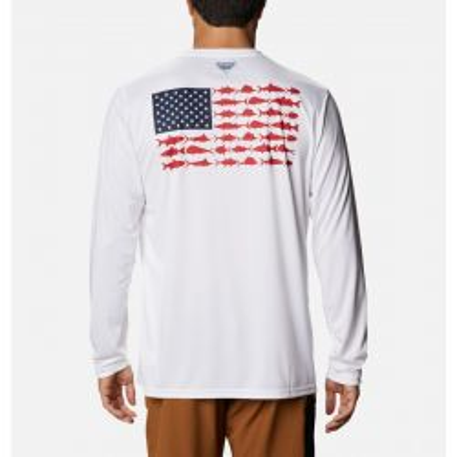Columbia Men's Terminal Tackle PFG Fish Flag Long Sleeve Shirt Big - White/Collegiate Navy