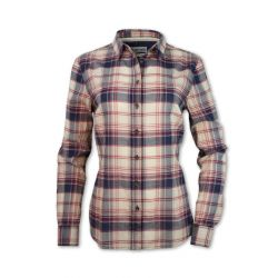 Women's Double Placket Madras Plaid Shirt - Navy/Tan
