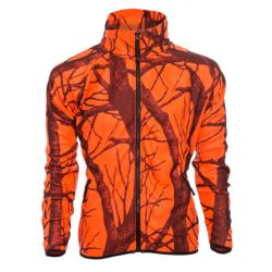 Men's Fleece Full Zip Jacket - Blaze Orange Camo