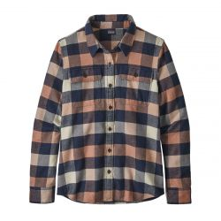 W Long Sleeve Fjord Flannel Shirt - Up Century Pink