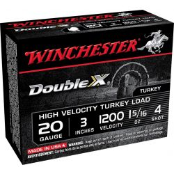 "Double X Tukey Load 20 Gauge 3"" - 1-5/16 oz./4 Shot"
