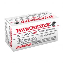 Wildcat 22 Long Rifle Ammo 50 Rounds - 40 Grain/ Lead Round Nose
