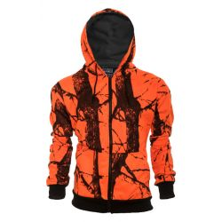 Men's Thermal Lined Full Zip Hoodie - Blaze Orange Camo (Extended Sizes)