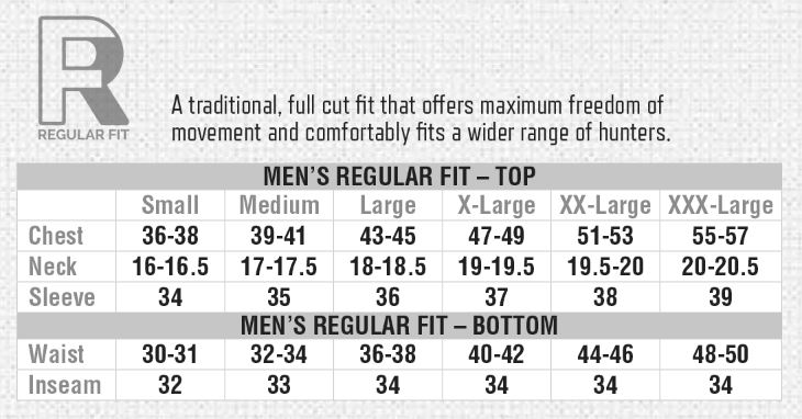 Browning Mens Regular Fit Size Guide
