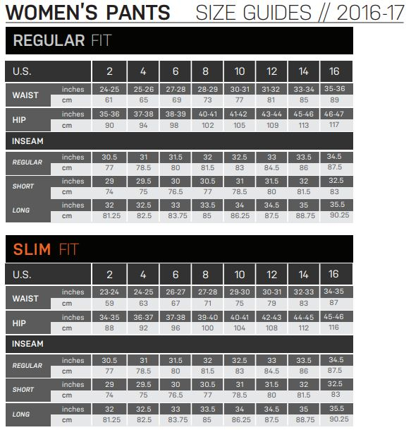 Descent Womens Pant Sizing