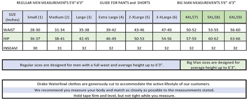 Non Typical Mens Pant Size Guide