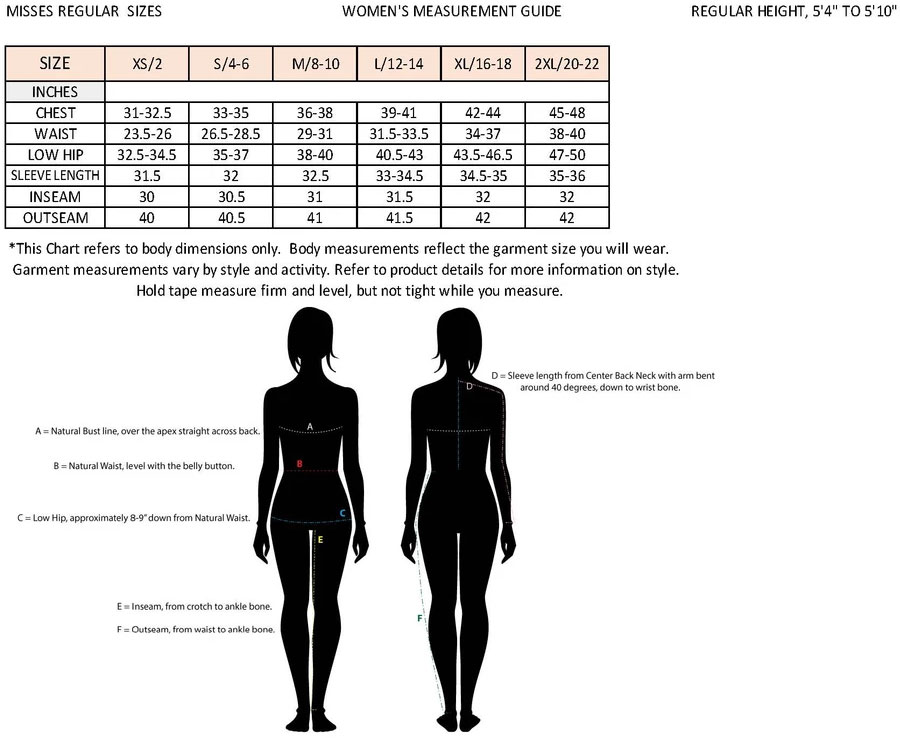 Non Typical Womens Size Guide