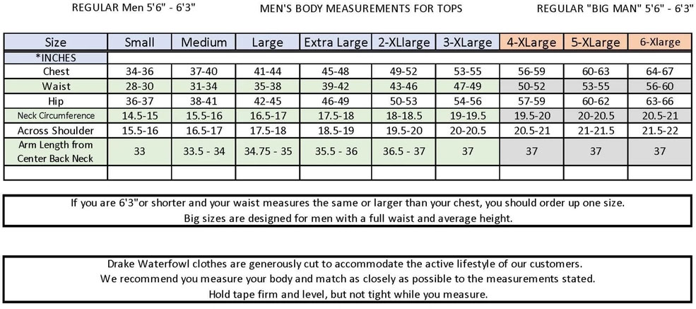 Non Typical Mens Tops Size Guide